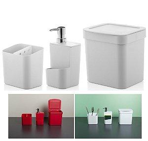 Kit Cozinha Trium Escorredor Talheres + Dispenser Detergente + Lixeira - KTE 012 Ou - Branco
