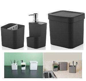 Kit Cozinha Trium Escorredor Talheres + Dispenser Detergente + Lixeira - KTE 012 Ou - Preto