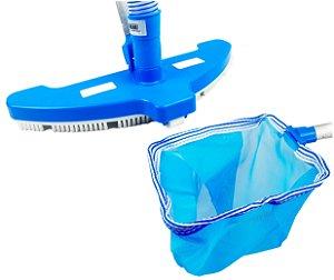 Kit Aspirador Com 3 Rodas Escova Peneira Pelicano Cata Folhas Acessório Limpeza Piscina - Netuno