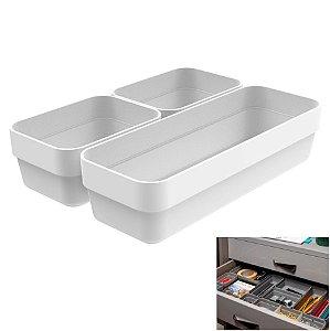 Kit 3 Cestos Organizador Gaveta Multiuso Plástico Quarto Cozinha Mini/M Logic  - CLL 200 Ou - Branco
