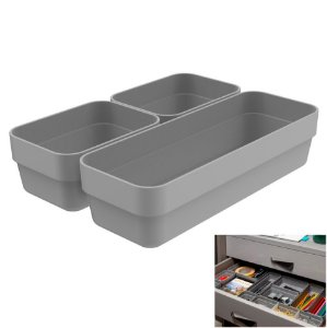 Kit 3 Cestos Organizador Gaveta Multiuso Plástico Quarto Cozinha Mini/M Logic  - CLL 200 Ou - Chumbo
