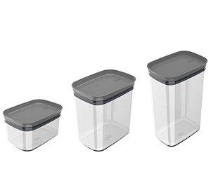 Kit 3 Potes Herméticos Porta Alimentos Mantimentos Com Tampa Block - KTE 048 Ou - Chumbo