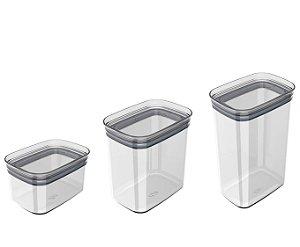 Kit 3 Potes Herméticos Porta Alimentos Mantimentos Com Tampa Block - KTE 048 Ou - Natural