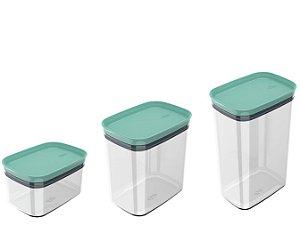 Kit 3 Potes Herméticos Porta Alimentos Mantimentos Com Tampa Block - KTE 048 Ou - Verde Menta