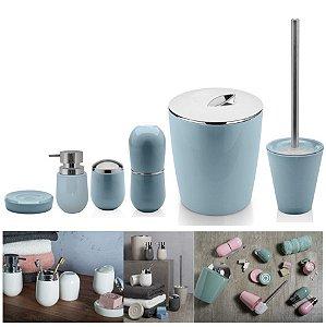 Kit 6pçs Banheiro Porta Escova / Algodão + Dispenser + Saboneteira + Lixeira + Escova Sanitária - Ou - Azul