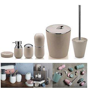 Kit 6pçs Banheiro Porta Escova / Algodão + Dispenser + Saboneteira + Lixeira + Escova Sanitária - Ou - Bege