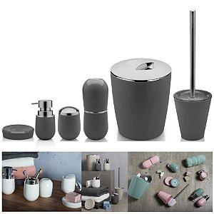 Kit 6pçs Banheiro Porta Escova / Algodão + Dispenser + Saboneteira + Lixeira + Escova Sanitária - Ou - Chumbo