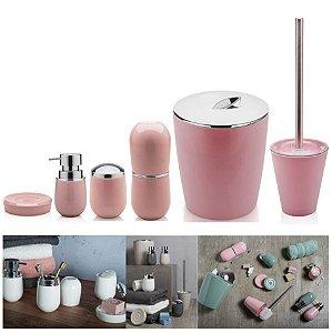 Kit 6pçs Banheiro Porta Escova / Algodão + Dispenser + Saboneteira + Lixeira + Escova Sanitária - Ou - Rosa