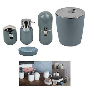 Kit Banheiro Belly Porta Escova + Dispenser + Suporte Algodão + Saboneteira + Lixeira - Ou - Azul