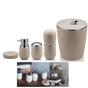 Kit Banheiro Belly Porta Escova + Dispenser + Suporte Algodão + Saboneteira + Lixeira - Ou - Bege