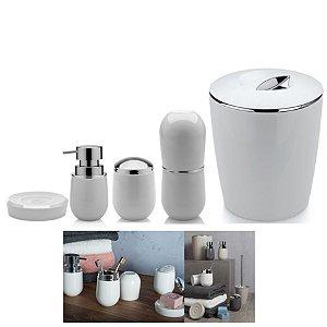 Kit Banheiro Belly Porta Escova + Dispenser + Suporte Algodão + Saboneteira + Lixeira - Ou - Branco
