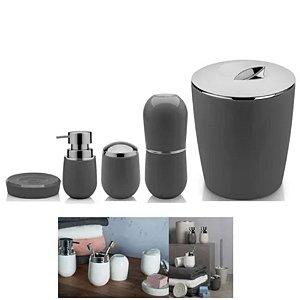 Kit Banheiro Belly Porta Escova + Dispenser + Suporte Algodão + Saboneteira + Lixeira - Ou - Chumbo