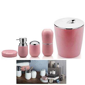 Kit Banheiro Belly Porta Escova + Dispenser + Suporte Algodão + Saboneteira + Lixeira - Ou - Rosa