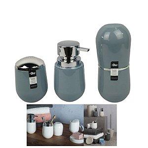 Kit Banheiro Belly Porta Escova + Suporte Algodão +  Dispenser Sabonete - Ou - Azul