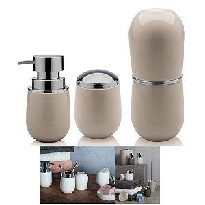 Kit Banheiro Belly Porta Escova + Suporte Algodão +  Dispenser Sabonete - Ou - Bege
