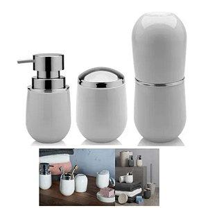 Kit Banheiro Belly Porta Escova + Suporte Algodão +  Dispenser Sabonete - Ou - Branco
