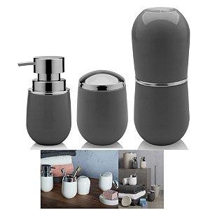Kit Banheiro Belly Porta Escova + Suporte Algodão +  Dispenser Sabonete - Ou - Chumbo