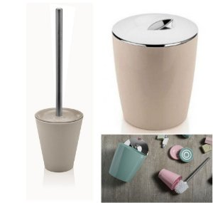 Kit Conjunto Banheiro 2pç Vitra Lixeira 5 L + Porta Escova Sanitária - Ou - Bege