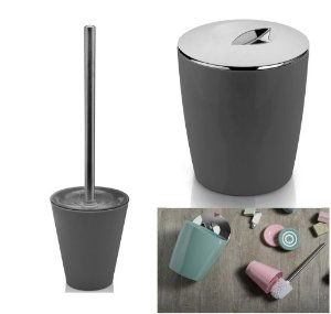 Kit Conjunto Banheiro 2pç Vitra Lixeira 5 L + Porta Escova Sanitária - Ou - Chumbo