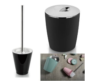 Kit Conjunto Banheiro 2pç Vitra Lixeira 5 L + Porta Escova Sanitária - Ou - Preto