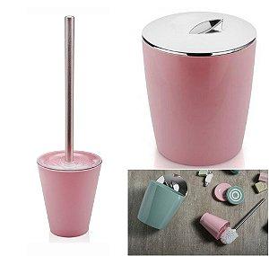 Kit Conjunto Banheiro 2pç Vitra Lixeira 5 L + Porta Escova Sanitária - Ou - Rosa