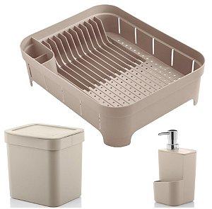 Kit Cozinha Trium Escorredor De Louças + Lixeira 2,5L + Dispenser Detergente - Ou - Bege