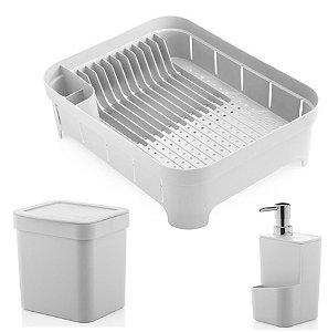 Kit Cozinha Trium Escorredor De Louças + Lixeira 2,5L + Dispenser Detergente - Ou - Branco