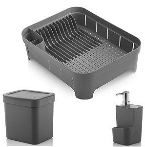 Kit Cozinha Trium Escorredor De Louças + Lixeira 2,5L + Dispenser Detergente - Ou - Chumbo