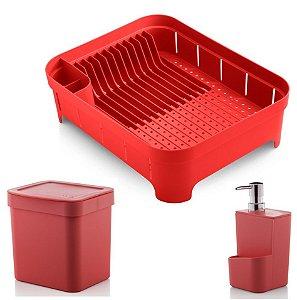 Kit Cozinha Trium Escorredor De Louças + Lixeira 2,5L + Dispenser Detergente - Ou - Vermelho