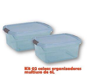 Kit 2 Caixa Organizadora 6l Multiuso Porta Utensílios Esmalte Toalha Objetos - Sanremo - Azul