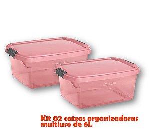 Kit 2 Caixa Organizadora 6l Multiuso Porta Utensílios Esmalte Toalha Objetos - Sanremo - Rosa