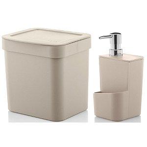 Kit Dispenser Porta Detergente 650ml + Lixeira 2,5 Litros Cozinha Trium - Ou - Bege
