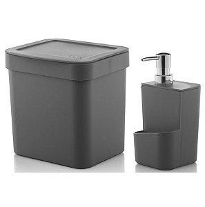 Kit Dispenser Porta Detergente 650ml + Lixeira 2,5 Litros Cozinha Trium - Ou - Chumbo