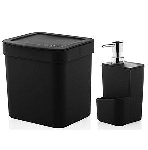 Kit Dispenser Porta Detergente 650ml + Lixeira 2,5 Litros Cozinha Trium - Ou - Preto