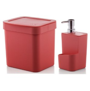 Kit Dispenser Porta Detergente 650ml + Lixeira 2,5 Litros Cozinha Trium - Ou - Vermelho