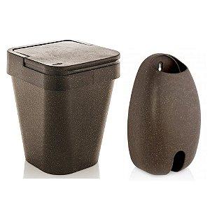 Kit Eco Porta Dispenser De Sacolas + Lixeira 5L Sustentável - Ou - Cana