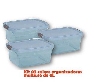 Kit 3 Caixa Organizadora 6l Multiuso Porta Utensílios Esmalte Toalha Objetos - Sanremo - Azul