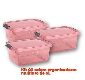 Kit 3 Caixa Organizadora 6l Multiuso Porta Utensílios Esmalte Toalha Objetos - Sanremo - Rosa