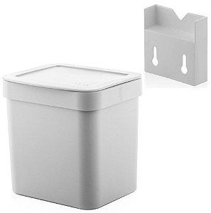 Kit Lixeira 4,7l Com Suporte Para Fixação De Parede Suspensa Trium - Ou - Branco