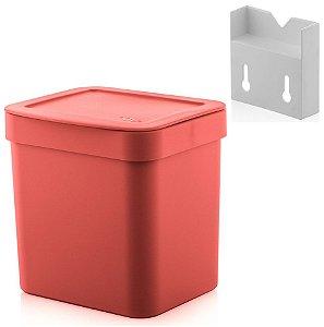 Kit Lixeira 4,7l Com Suporte Para Fixação De Parede Suspensa Trium - Ou - Vermelho
