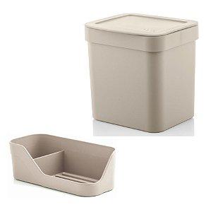 Kit Organizador Pia Porta Detergente Esponja + Lixeira 2,5 Litros Cozinha Trium - Ou - Bege