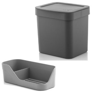 Kit Organizador Pia Porta Detergente Esponja + Lixeira 2,5 Litros Cozinha Trium - Ou - Chumbo