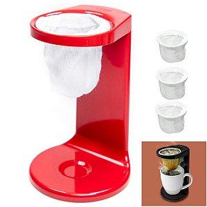 Kit Passador De Café Individual Coador Mini Cafézinho Com 3 Refil - Ou - Vermelho