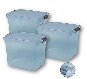 Kit 3 Caixa Organizadora 11 Litros Multiuso Closet Roupa Lavanderia Quarto Brinquedo - Sanrem - Azul
