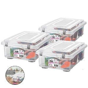 Kit 3 Caixa Organizadora Grande 28,2l Multiuso Porta Utensílios Closet Roupas Brinquedos - Sanremo - Transparente