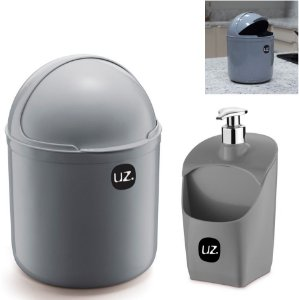 Kit Cozinha Lixeira 4 Litros Tampa Capacete + Dispenser Pia Porta Detergente - Uz - Cinza