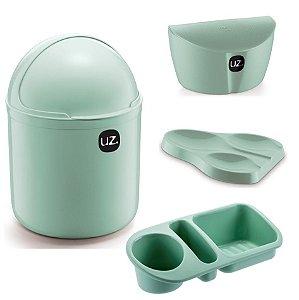 Kit Cozinha Lixeira 4L Capacete + Organizador Pia Detergente + Apoio Colher + Saleiro - Uz - Verde Menta