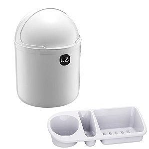 Kit Cozinha Lixeira 4L Tampa Capacete + Organizador Pia Porta Detergente - Uz - Branco