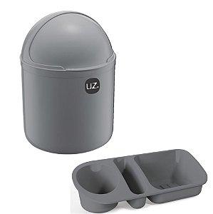 Kit Cozinha Lixeira 4L Tampa Capacete + Organizador Pia Porta Detergente - Uz - Cinza