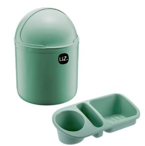 Kit Cozinha Lixeira 4L Tampa Capacete + Organizador Pia Porta Detergente - Uz - Verde Menta
